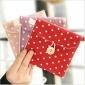 韩国热销新款 大号清新波点棉麻卫生巾收纳包 可爱布艺卫生棉包